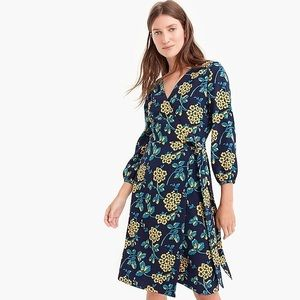 Jcrew Blue Petite Golden Floral Wrap Dress